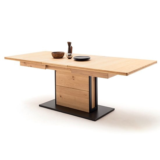Salerno Extending Wooden Dining Table In Planked Oak