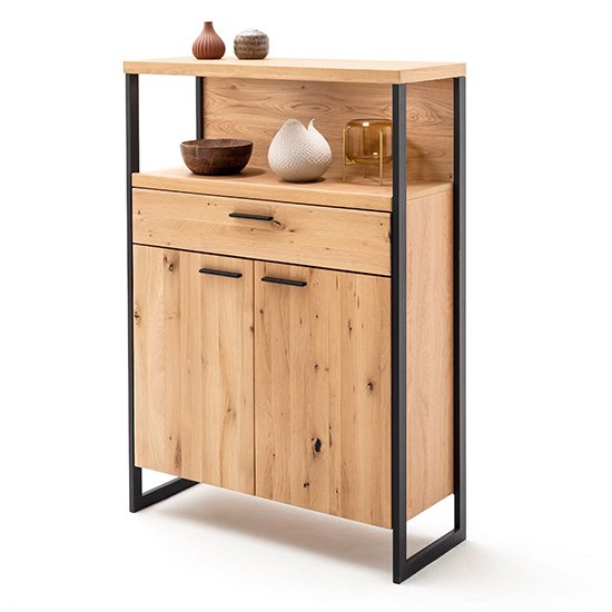 View Salerno led wooden 2 doors 1 drawer highboard in planked oak