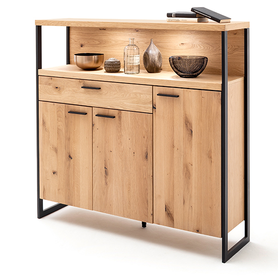 Salerno LED Wooden 3 Doors 1 Drawer Highboard In Planked Oak
