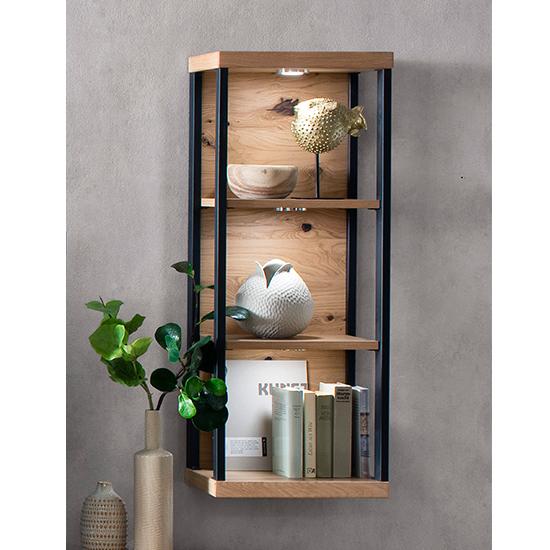 View Salerno led wooden 3 shelves wall shelving unit in planked oak