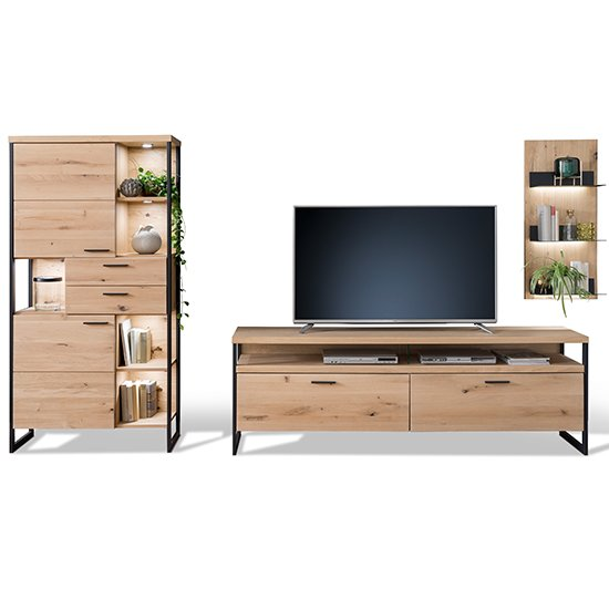 Salerno LED Wooden Living Room Furniture Set 1 In Planked Oak_2
