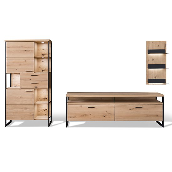 Salerno LED Wooden Living Room Furniture Set 1 In Planked Oak_3