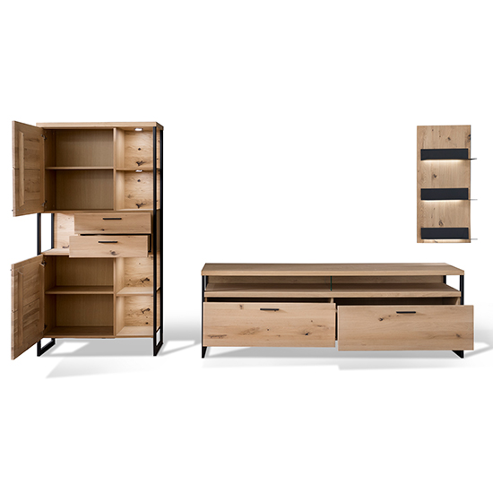 Salerno LED Wooden Living Room Furniture Set 1 In Planked Oak_4