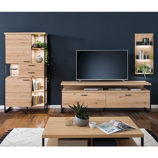 Salerno LED Wooden Living Room Furniture Set 1 In Planked Oak_1