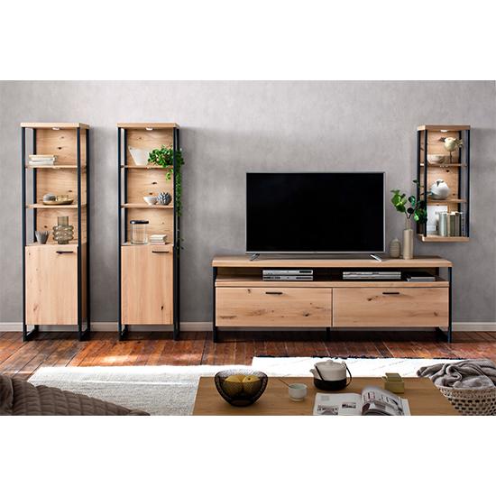 View Salerno led wooden living room furniture set 2 in planked oak