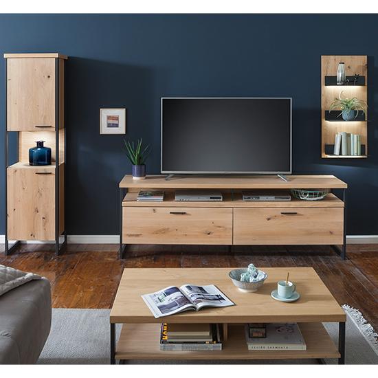 View Salerno led wooden living room furniture set 3 in planked oak