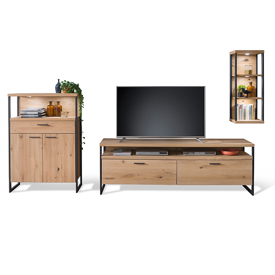 Salerno LED Wooden Living Room Furniture Set 4 In Planked Oak_2