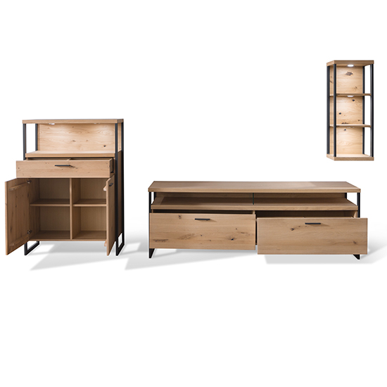 Salerno LED Wooden Living Room Furniture Set 4 In Planked Oak_4
