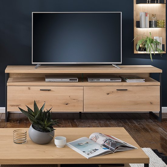 Salerno Wooden 2 Drawers TV Stand In Planked Oak