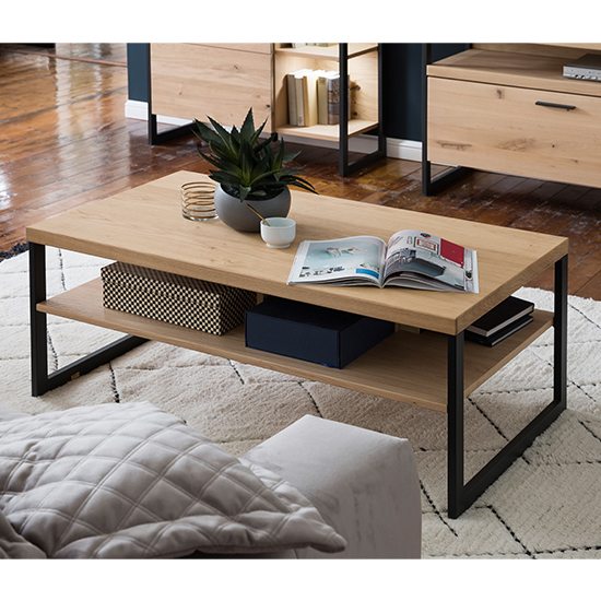 Salerno Wooden Coffee Table In Planked Oak