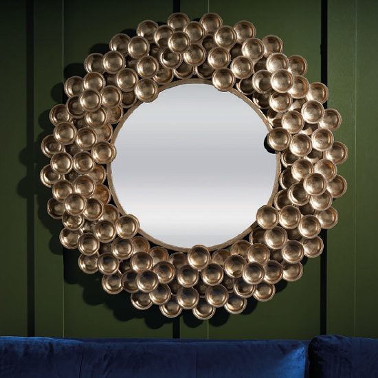 Salinas Decorative Wall Mirror Round In Gold