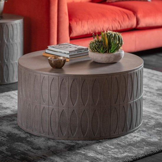 Salisbury Round Wooden Coffee Table In Grey
