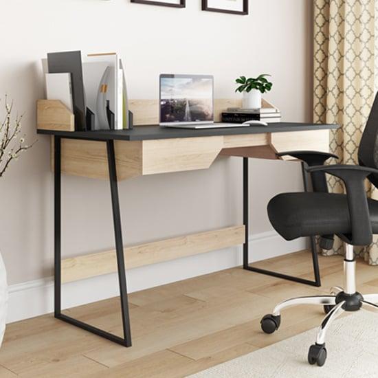 View Salisbury wooden computer desk in oak and black