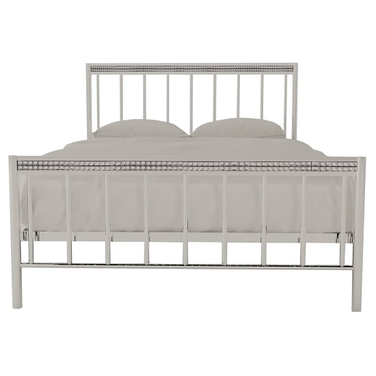 Salsa Contemporary Metal Double Bed In Chrome And Silver_3