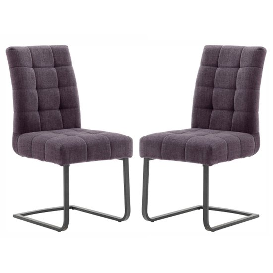 Salta Merlot Fabric Upholstered Dining Chairs In Pair