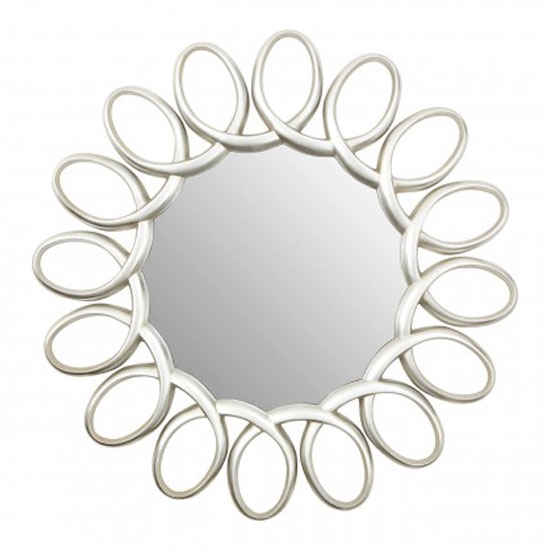 Saltier Floral Design Wall Bedroom Mirror In Silver Pewter Frame