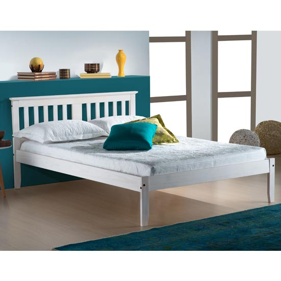 Salvador Wooden Small Double Bed In White Washed