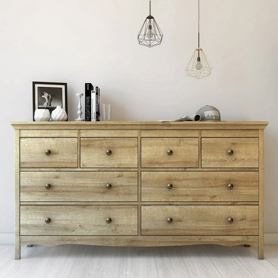Salzburg Wooden Chest Of Drawers In Riviera Oak With 8 Drawers