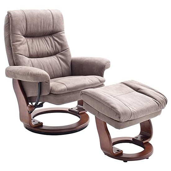 Samone Large Relaxer Chair In Taupe And Walnut