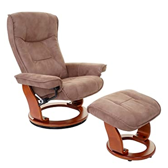 Samone Relaxer Chair In Antique Brown And Walnut With Footstool