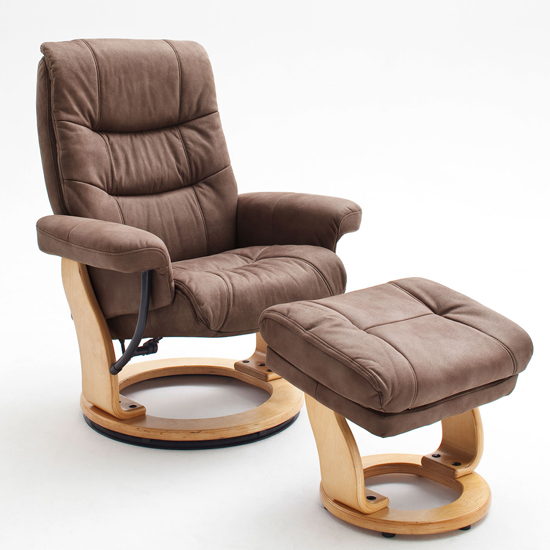 Samone Relaxer Chair In Brown And Natural With Footstool