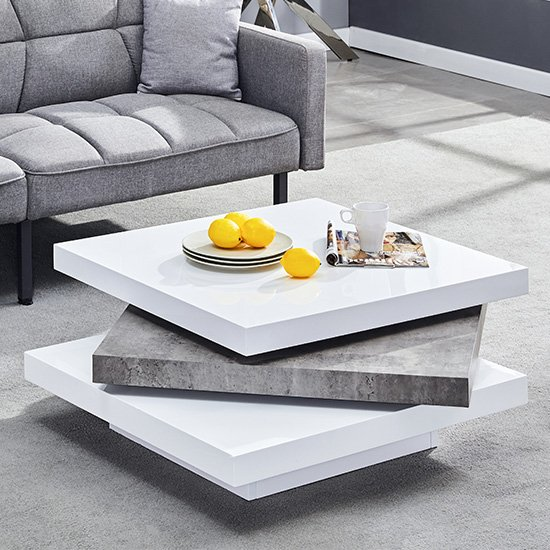 View Samora square coffee table in white gloss concrete effect