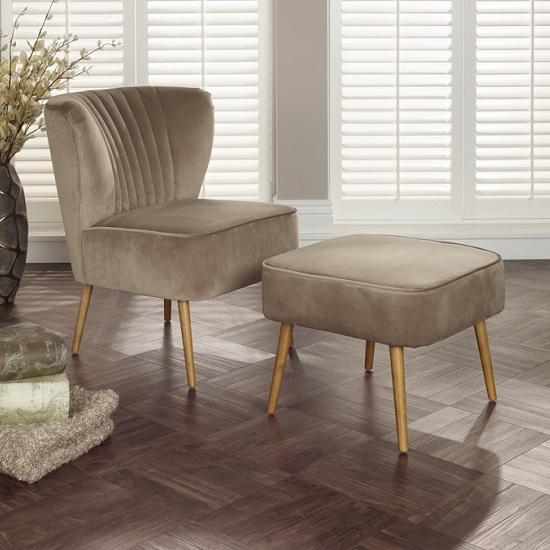 Samova Fabric Bedroom Chair And Foot Stool In Mink Velvet