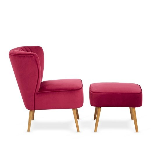 Samova Fabric Bedroom Chair And Foot Stool In Ruby Velvet_1