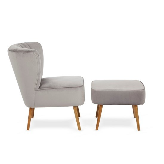 Samova Fabric Bedroom Chair And Foot Stool In Silver Velvet