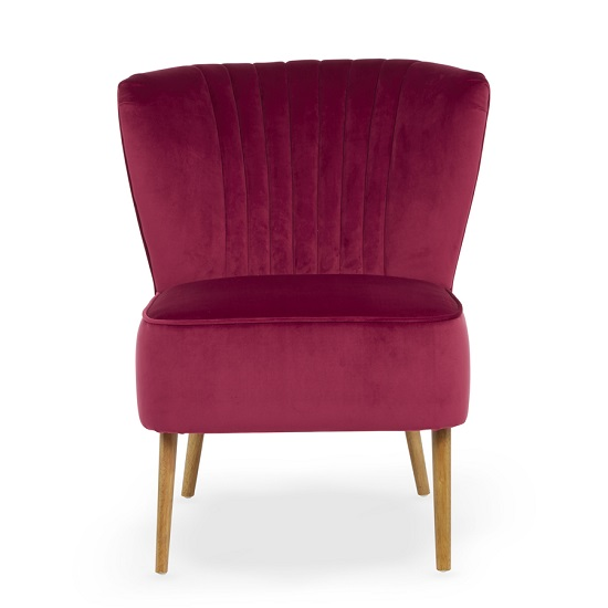 Samova Fabric Bedroom Chair And Foot Stool In Ruby Velvet_3