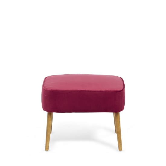 Samova Fabric Bedroom Chair And Foot Stool In Ruby Velvet_4