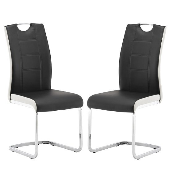 Samson Dining Chair In Black And White Faux Leather In A Pair