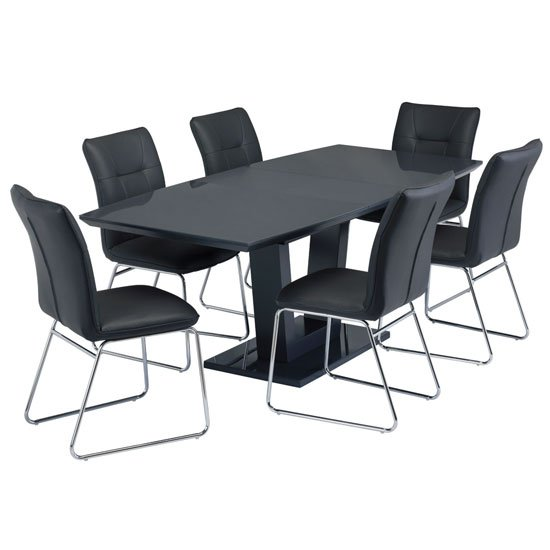 Samson Extending Charcoal Glass Dining Table 6 Albany Chairs