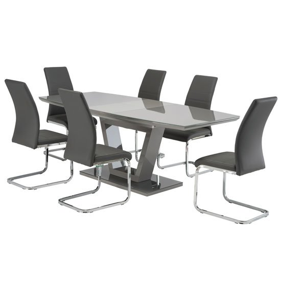 Samson Extending Grey Glass Dining Table 6 Grey Soho Chairs