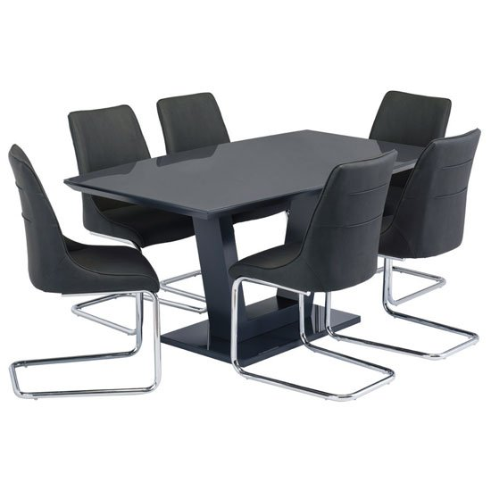 Samson Glass Dining Table In Charcoal Gloss 6 Langham Chairs