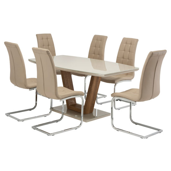 Samson Glass Dining Table In Latte High Gloss 6 Moreno Chairs