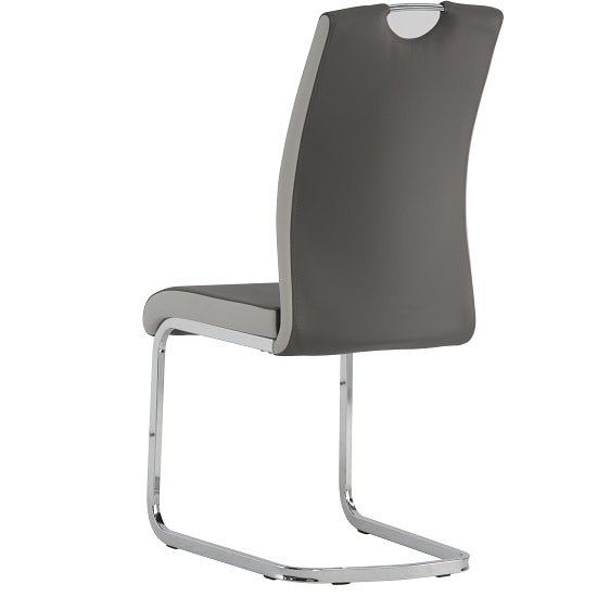 Samson Cantilever Dining Chair In Grey Faux Leather In A Pair_2