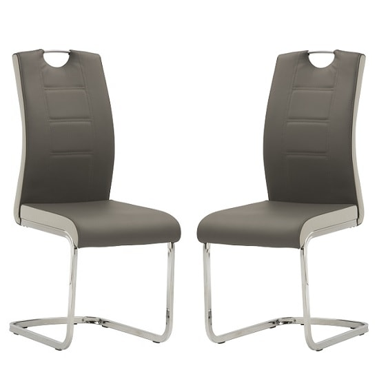Samson Cantilever Dining Chair In Grey Faux Leather In A Pair_1