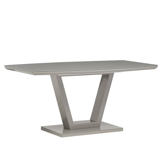 Samson Glass Dining Table Rectangular In Grey High Gloss