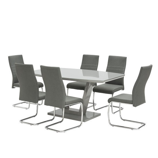 Samson Glass Dining Table In Grey High Gloss 6 Devan Chairs