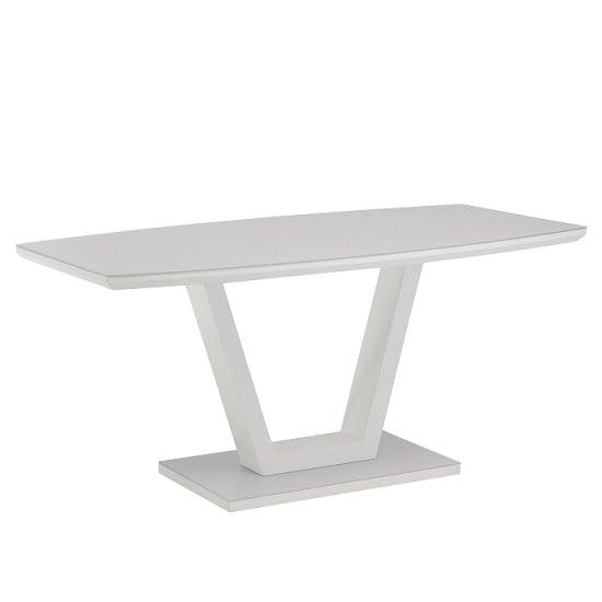 Samson Glass Dining Table Rectangular In White High Gloss