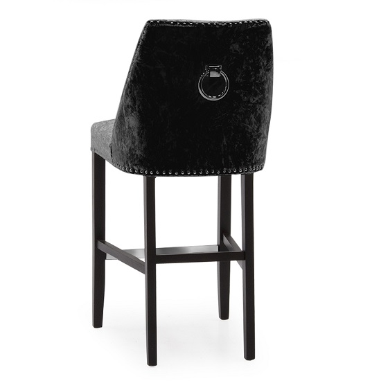 Samuel Bar Chair In Crushed Black Velvet With Wooden Legs_2