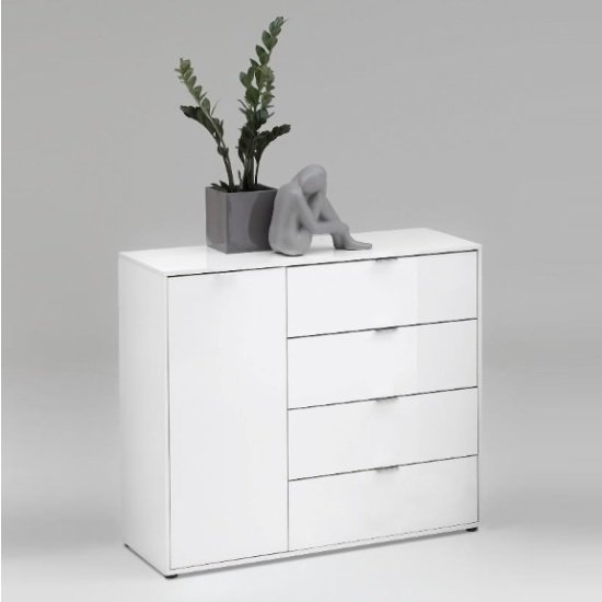 Sander Chest Of Drawers In White High Gloss With 1 Door