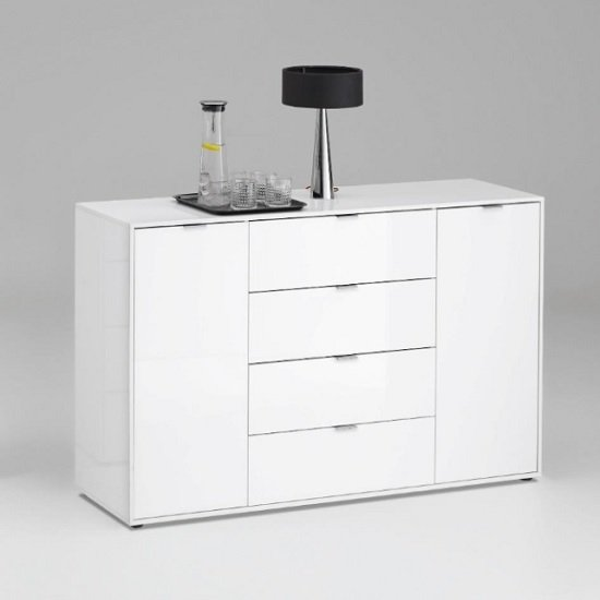 Sander Modern Sideboard In White High Gloss With 2 Doors