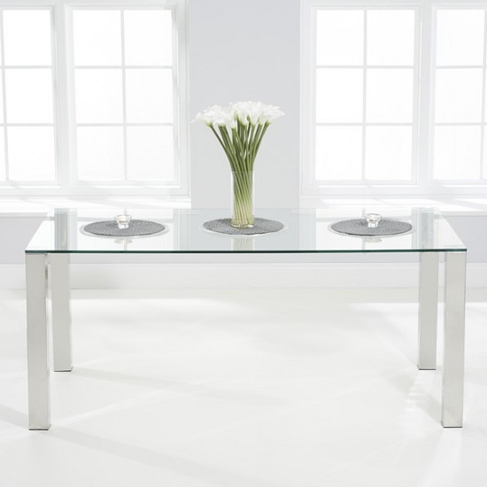 Sander Modern Dining Table In Clear Glass With Chrome Legs
