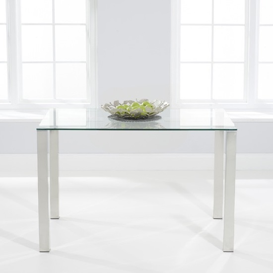 Sander Small Dining Table In Clear Glass With Chrome Legs