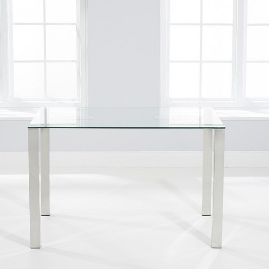 Sander Small Dining Table In Clear Glass With Chrome Legs_3