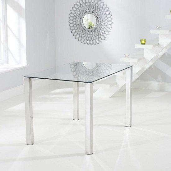 Sander Small Dining Table In Clear Glass With Chrome Legs_4