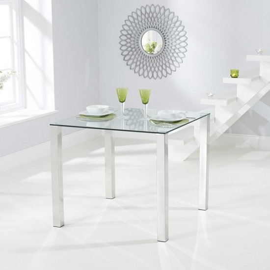Sander Square Dining Table In Clear Glass With Chrome Legs