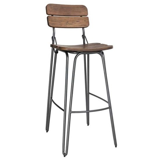 Sandra Bar Chair In Rustic Elm With Steel Frame